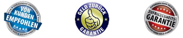 Zufriedenheitsgarantie mit Geld zurück Garantie