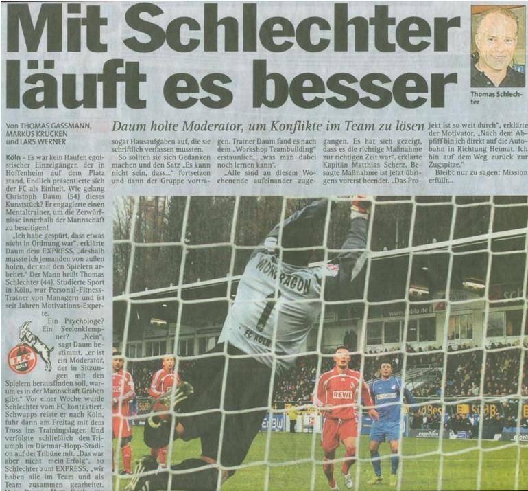 Thomas Schlechter als Mentaltraininer beim 1. FC Köln mit Christoph Daum